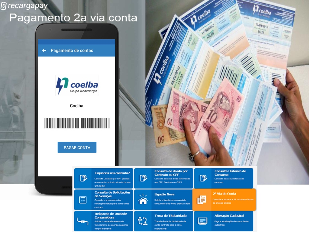 Pagamento 2a via conta Coelba com App Recargapay