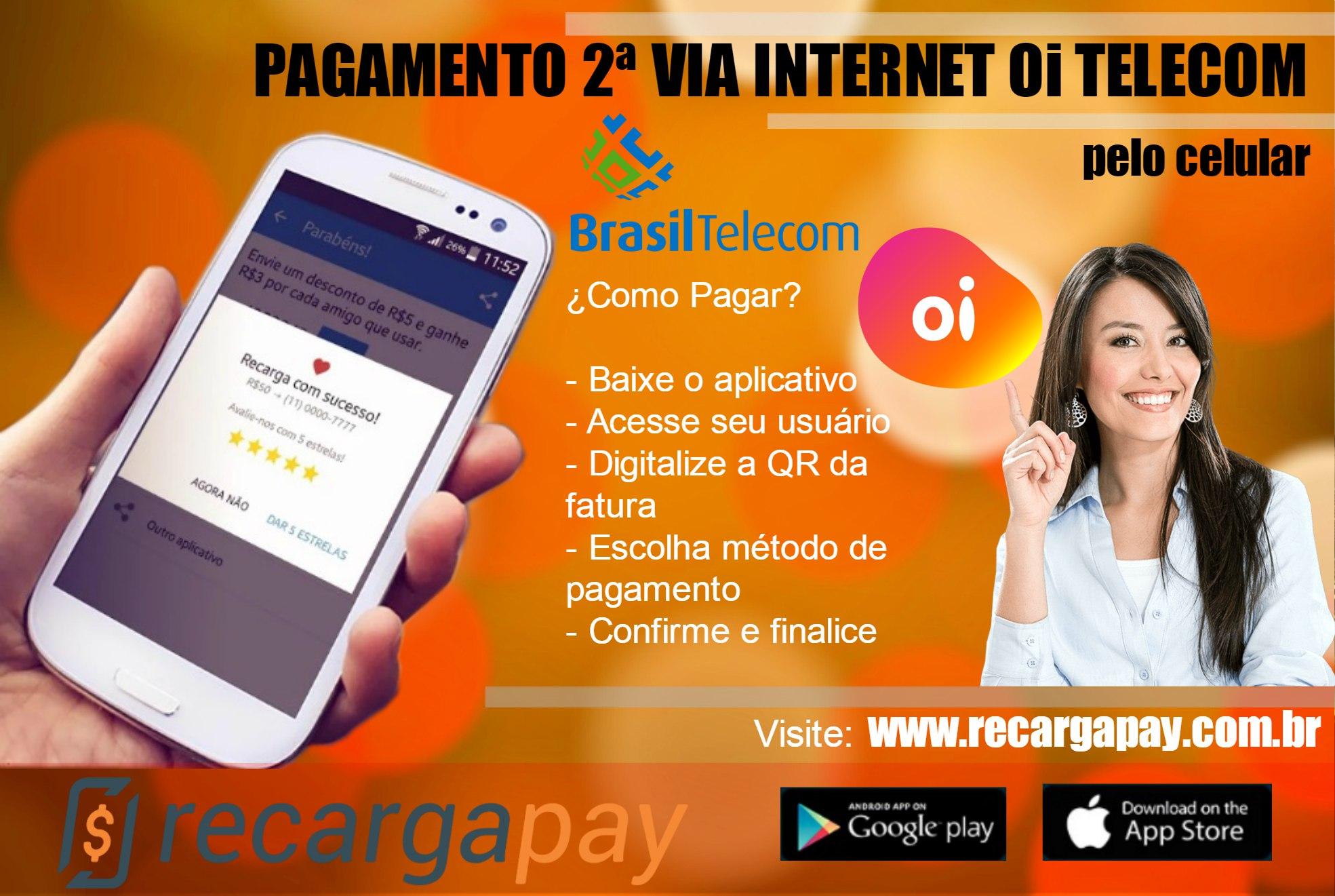 Passos para pagar conta internet Oi Telecom pelo celular