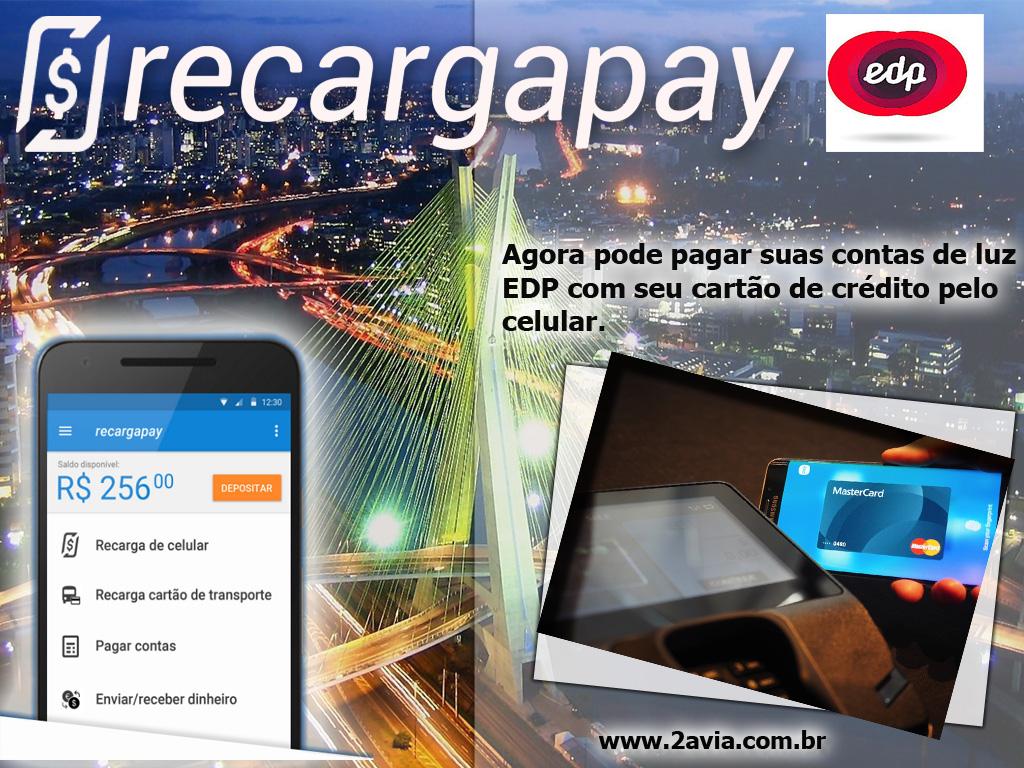 Agora pode pagar sua 2da via da conta de EDP com seu cartão de crédito pelo celular em São Paulo