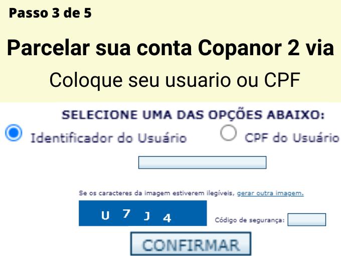 Passo 3 de 5 para pagar Copanor 2 via
