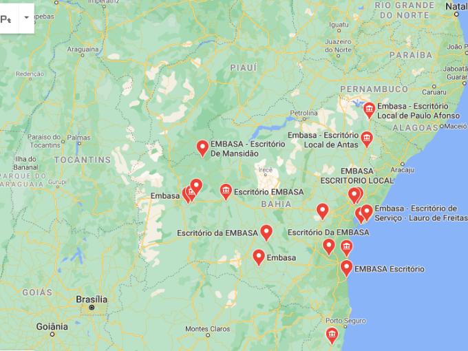 Escritórios de Embasa no Bahia