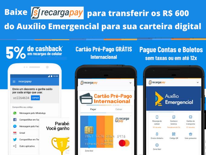 Baixe RecargaPay para transferir R$ 600 a seu carteira digital