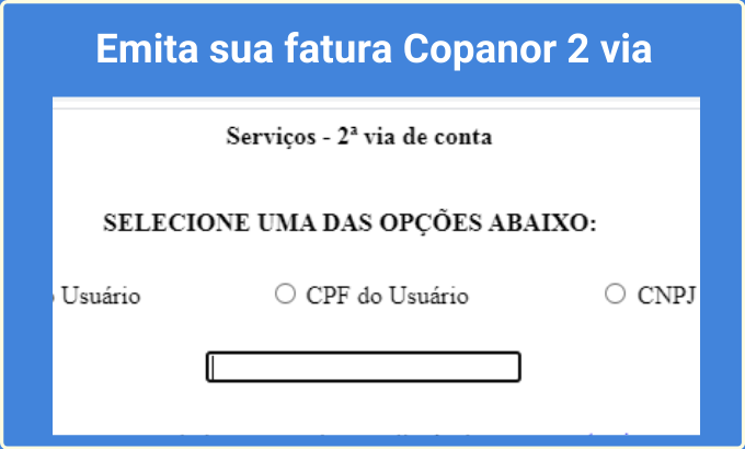 Emita sua fatura Copanor 2 via